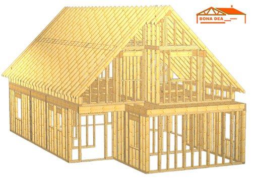 Model case din lemn cu mansarda