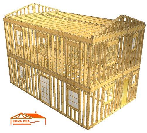 Modele case din lemn cu etaj