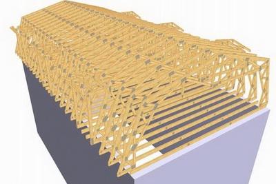 Sectiune 3D a a unei mansarde realizate cu structuri usoare InTekWood
