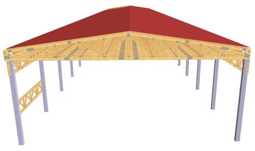 Proiect hala industriala din lemn cu structuri InTekWood