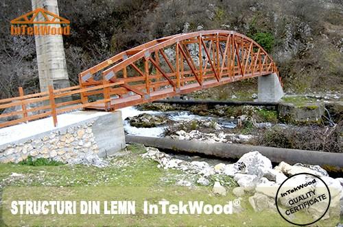 Poduri, punti pietonale cu deschideri de 25 de m realizate cu structuri din lemn InTekWood