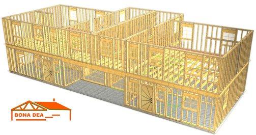 Modele case din lemn cu etaj si garaj